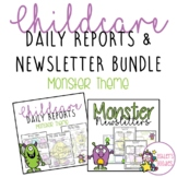 Monster Themed Childcare Daily Reports with Matching Newsletters (Daycare)