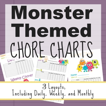 Monster Themed Chore Charts Monthly Weekly And Daily TpT