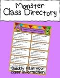 Monster Themed Class Directory