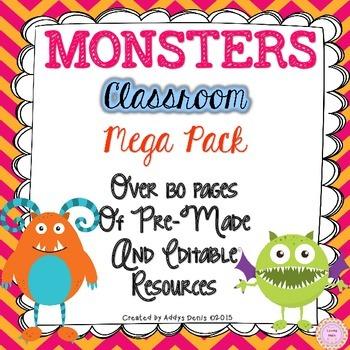 Monster Themed Classroom Decor - EDITABLE