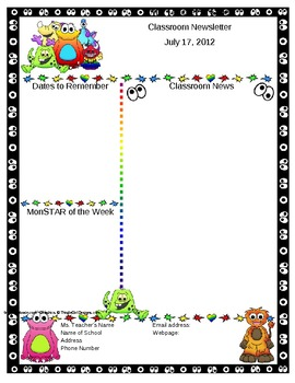 Monster themed classroom newsletter template editable by for Free editable newsletter templates for teachers