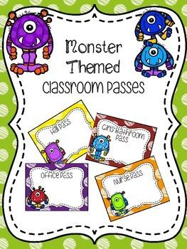 EDITABLE Monster Themed Classroom Passes