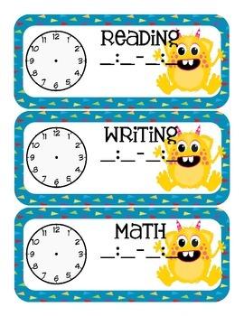 Monster Themed Classroom Schedule