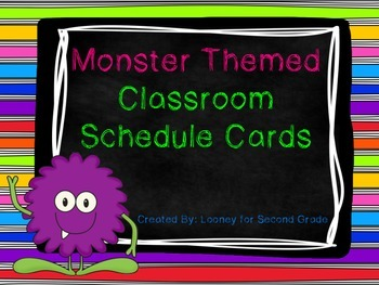 Monster Themed Classroom Schedule Cards