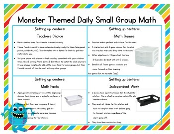 Monster Themed Classroom Small Group Math Center/ Workshop Setup