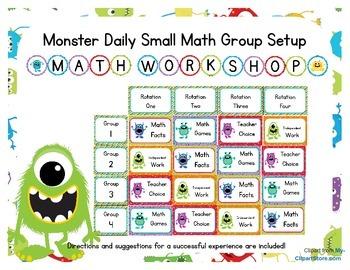 Monster Themed Classroom Small Group Math Center/ Workshop Setup