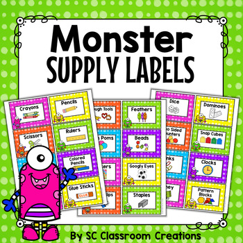 Monster Themed Classroom Supply Labels-Classroom Decor