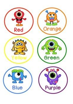 Monster Themed Colour Pencil Labels