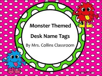Monster Themed Desk Name Tags