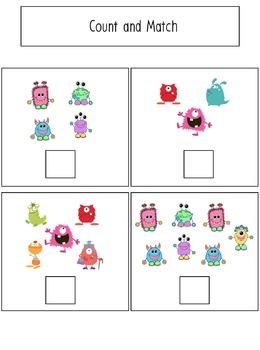 Monster Themed File Folder Activities for Preschool and Kindergarten