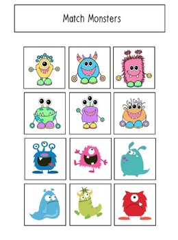 Monster Themed File Folder Activities for Preschool and Kindergarten