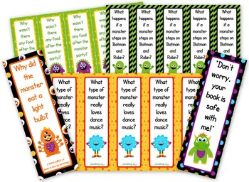 Monster Themed Funny Joke Bookmarks