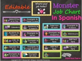 Monster Themed Job Chart {Editable} in Spanish