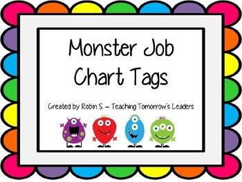 Monster Themed Job Chart Tags
