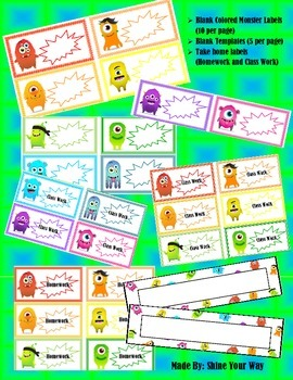 Monster Themed Labels and Templates
