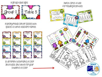 Monster Themed Library/Media Center Pack {with EDITABLE passes and signs}