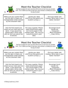 Monster Themed Meet the Teacher Forms