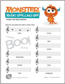 monster themed musical spelling bee free note name worksheet by andy fling. Black Bedroom Furniture Sets. Home Design Ideas