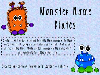 Monster Themed Name Plates