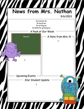 Monster Themed Newsletter