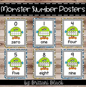 Monster Themed Number Posters 0-10