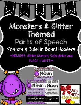 Monster Themed Parts of Speech posters