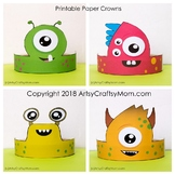 Monster Themed Printable Paper Crowns - Color + Black & wh