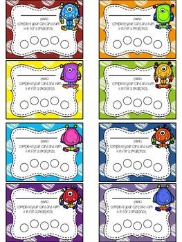 Monster Themed Punch Card Pack