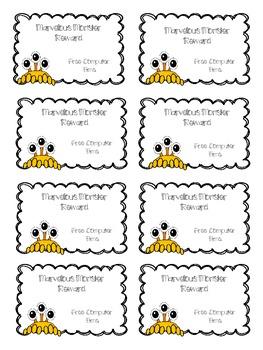 Monster Themed Reward Cards