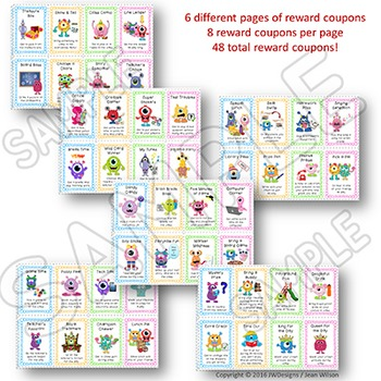 Reward Coupons - Monsters Theme