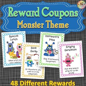 Reward Coupons for Behavior Management - MONSTER Themed