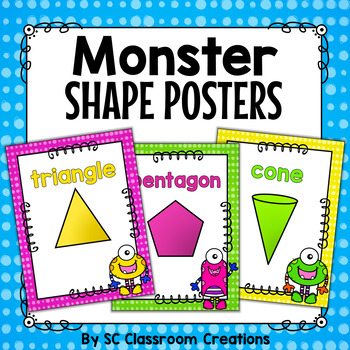 Monster Themed Shape Posters 2D and 3D-Classroom Decor