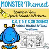 Monster Themed Speech Sound Worksheets- No Prep