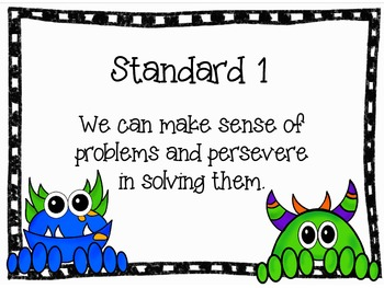 Monster Themed Standards For Mathematical Practices Posters and Checklists