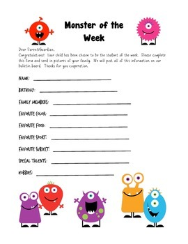 Monster Themed Student of the Week