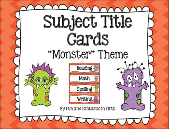 Monster Themed Subject Signs