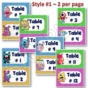 Monster Themed Table Signs and Labels EDITABLE