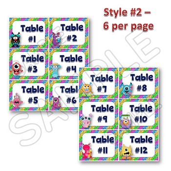EDITABLE Labels - Table Signs and Labels - MONSTER Themed Multipurpose Tags