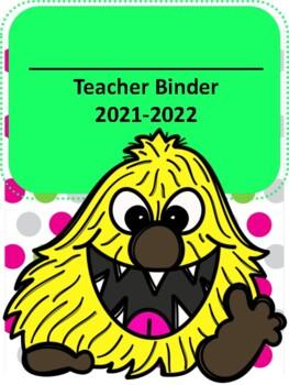 Monster Themed Teacher Binder 2017-2018