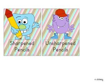 Monster-Themed Teacher Supply Labels