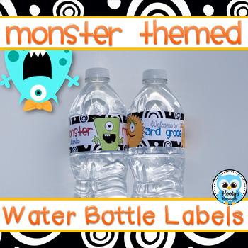 Monster Themed Water Bottle Labels