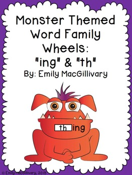"Monster Themed Word Family Wheels ""ing"" and ""th"""