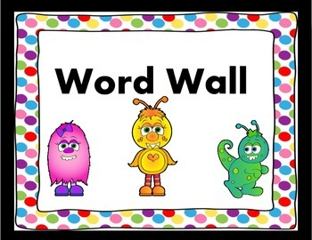 Monster Themed Word Wall Headers with White Background