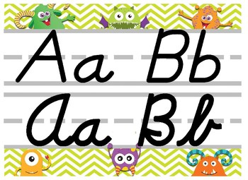 Monster Themed cursive and print alphabet strip