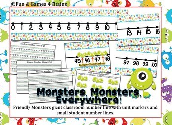 Monster Themed Giant classroom number line and small student number lines