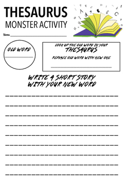 Monster Thesaurus Activity Worksheet By Mrs Millis