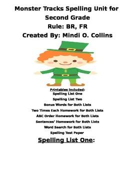 Monster Tracks Spelling Packet for Second Grade