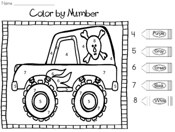 Monster Truck Color by Number