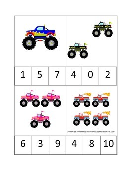 Monster Truck Count and Clip Cards