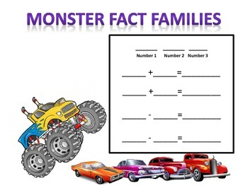 Monster Truck +  -  Fact Families Practice Sheet